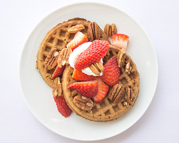 Ancient Grains Waffles with Strawberries & Pecans