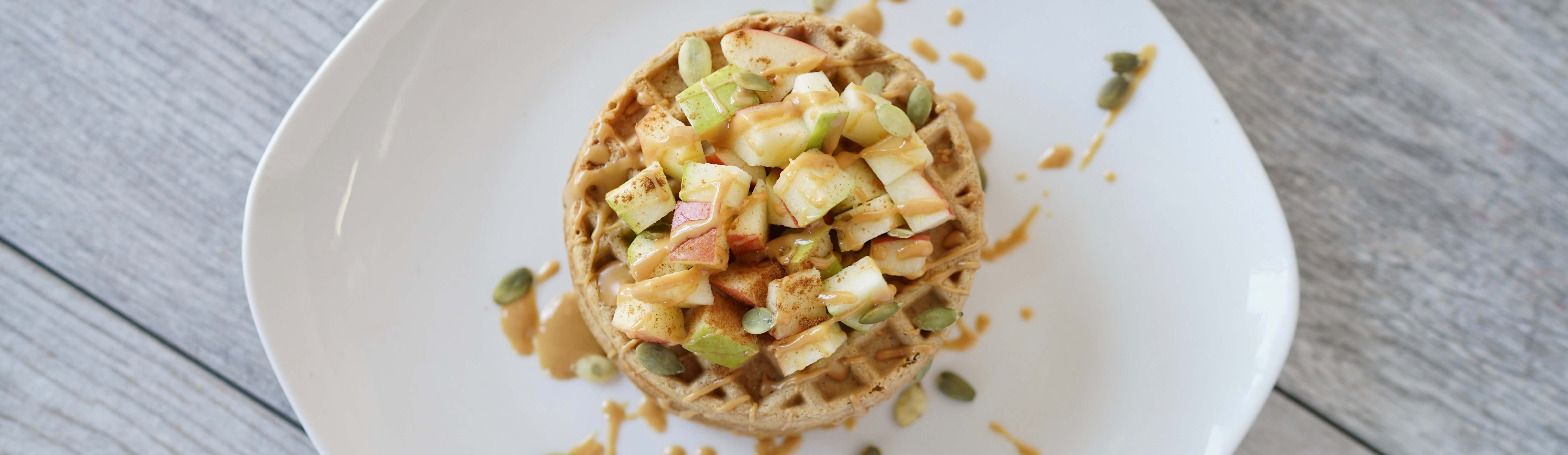 Apple and Cinnamon Peanut Butter Waffles