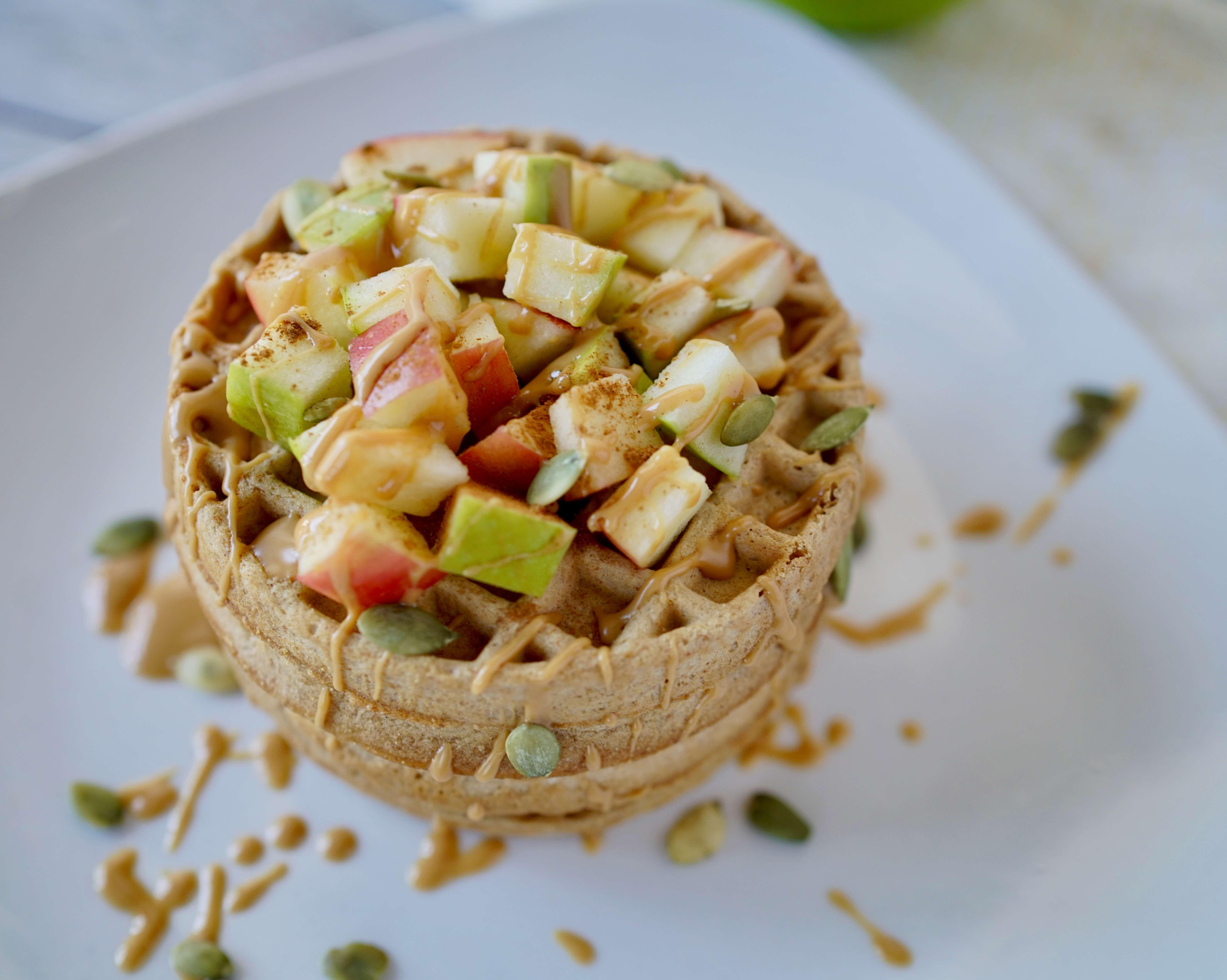 Apple and Cinnamon Peanut Butter Waffles