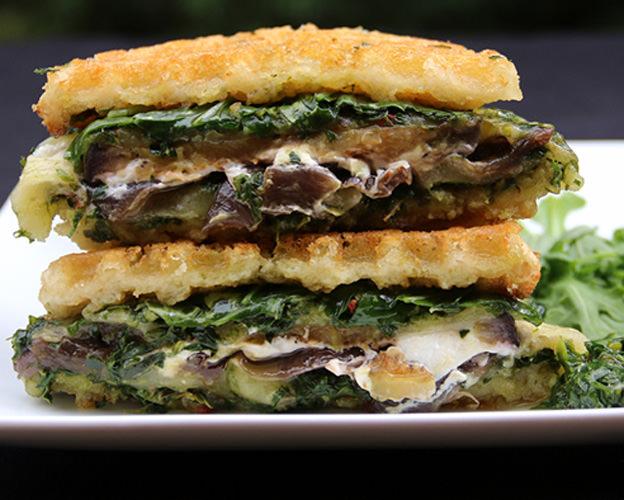 Cheesy Chimichurri Waffle Paninis