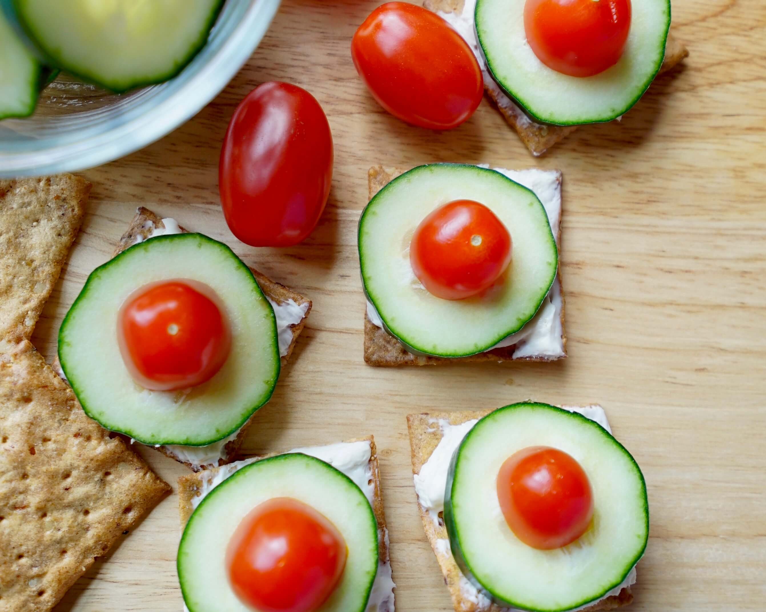 Cream Cheese Cucumber and Tomato Crackers