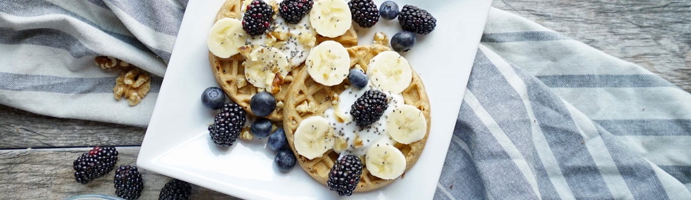 Double Berry and Banana Waffles