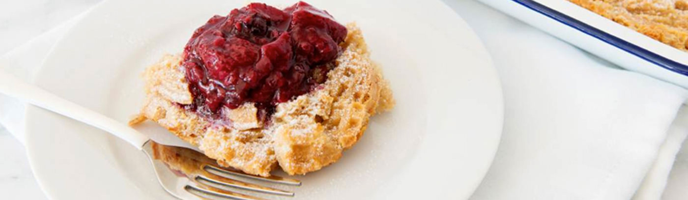 Gluten-Free Waffle Bread Pudding with Berry Sauce