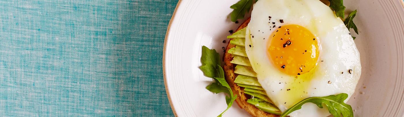 Waffles with Sliced Avocado & Sunnyside-Up Egg